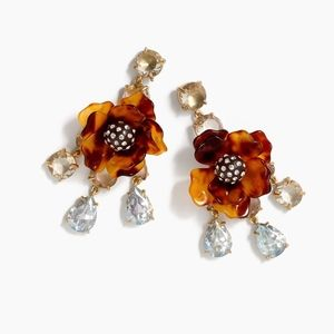 J CREW~tortoise flower~STATEMENT EARRINGS